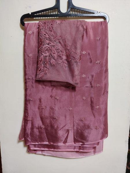Pure Chinnon Sequence Sarees With Blouse (7)
