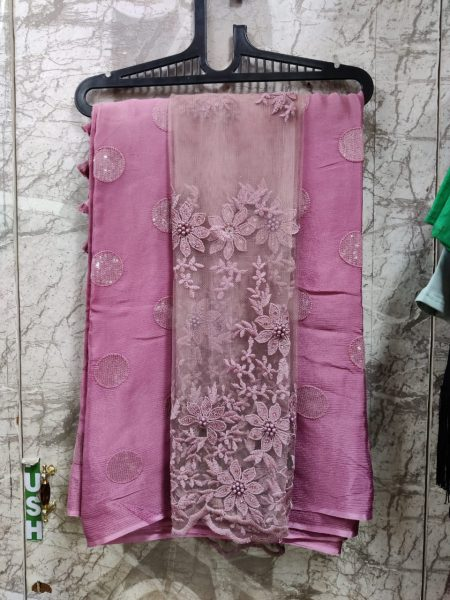 Pure Chinnon Sequence Sarees With Blouse (8)