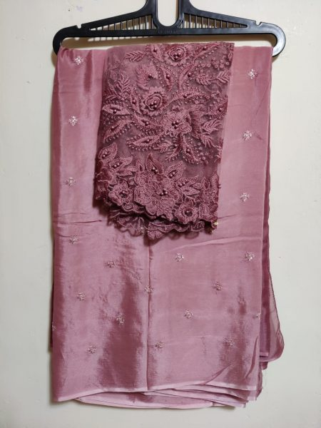 Pure Chinnon Sequence Sarees With Blouse (9)