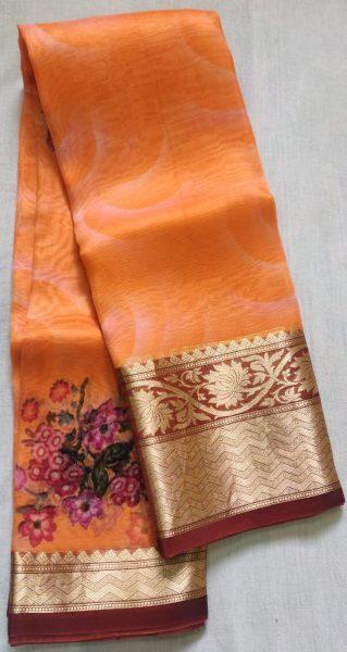 Pure Handloom Banaras Kora Digital Print Sarees (10)