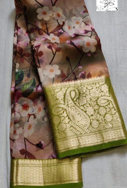 Pure Handloom Banaras Kora Digital Print Sarees (3)