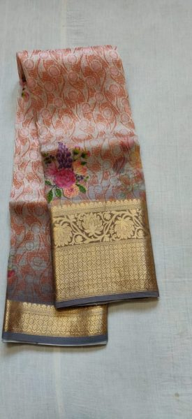 Pure Handloom Banaras Kora Digital Print Sarees (4)