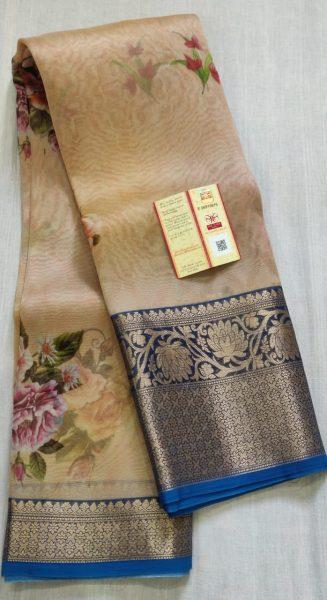 Pure Handloom Banaras Kora Digital Print Sarees (7)