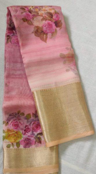 Pure Handloom Banaras Kora Digital Print Sarees (8)