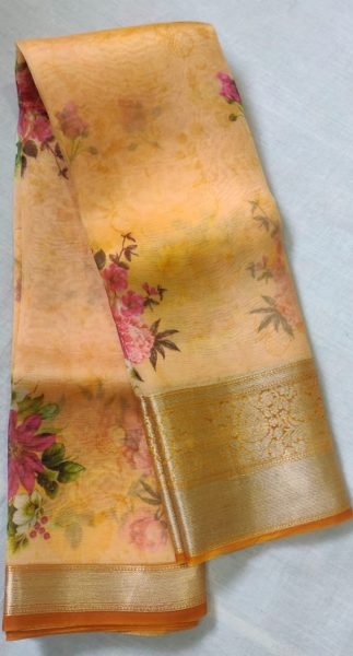 Pure Handloom Banaras Kora Digital Print Sarees (9)