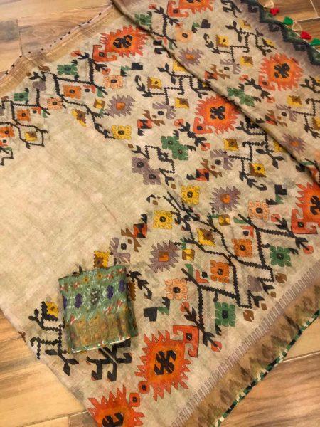 Kalamkari Print 120 Count Pure Linen Sarees (13)