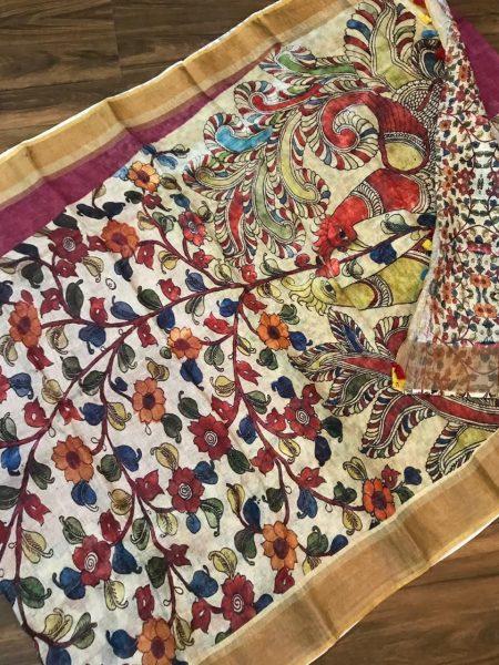 Kalamkari Print 120 Count Pure Linen Sarees (14)