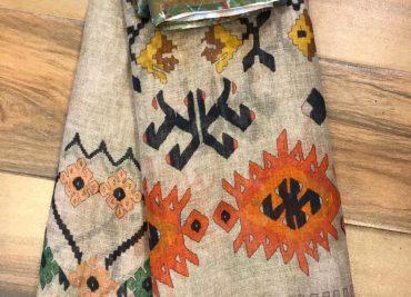 Kalamkari Print 120 Count Pure Linen Sarees (15)