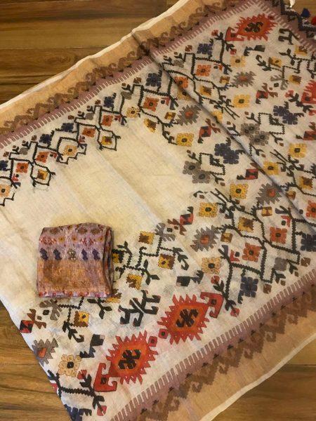 Kalamkari Print 120 Count Pure Linen Sarees (16)