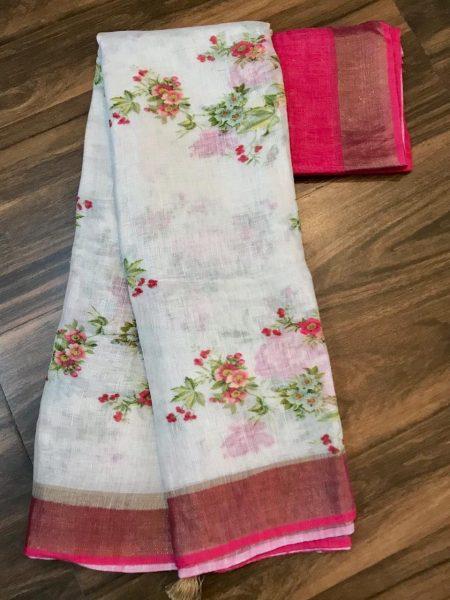 Kalamkari Print 120 Count Pure Linen Sarees (4)
