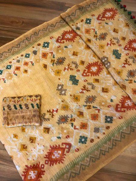 Kalamkari Print 120 Count Pure Linen Sarees (7)